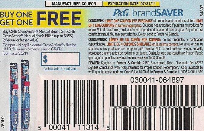 BOGO Free Oral-B CrossAction Toothbrush  exp 7/31 - Lot of 20