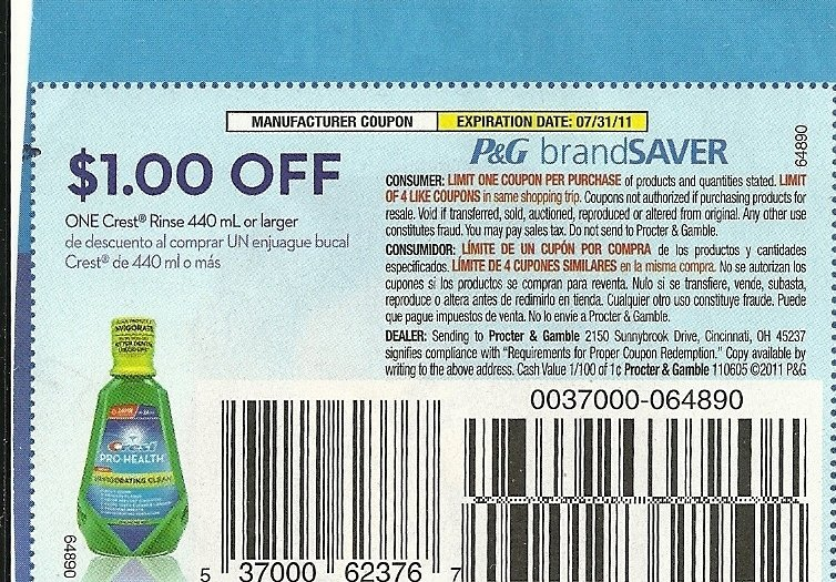 $1 OFF ONE CREST RINSE 440ml or larger exp 7/31 - Lot of 20