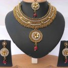 Indian costume polki semibridal necklace set with clear ,emerald and ruby color stones