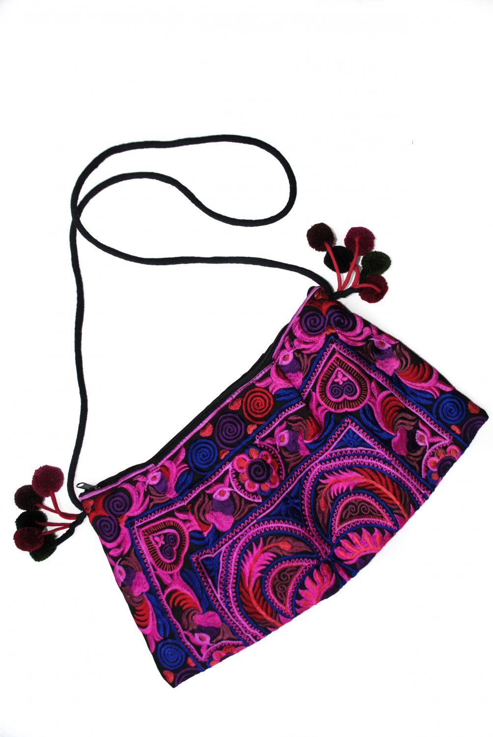 Pleated Embroidered Purse