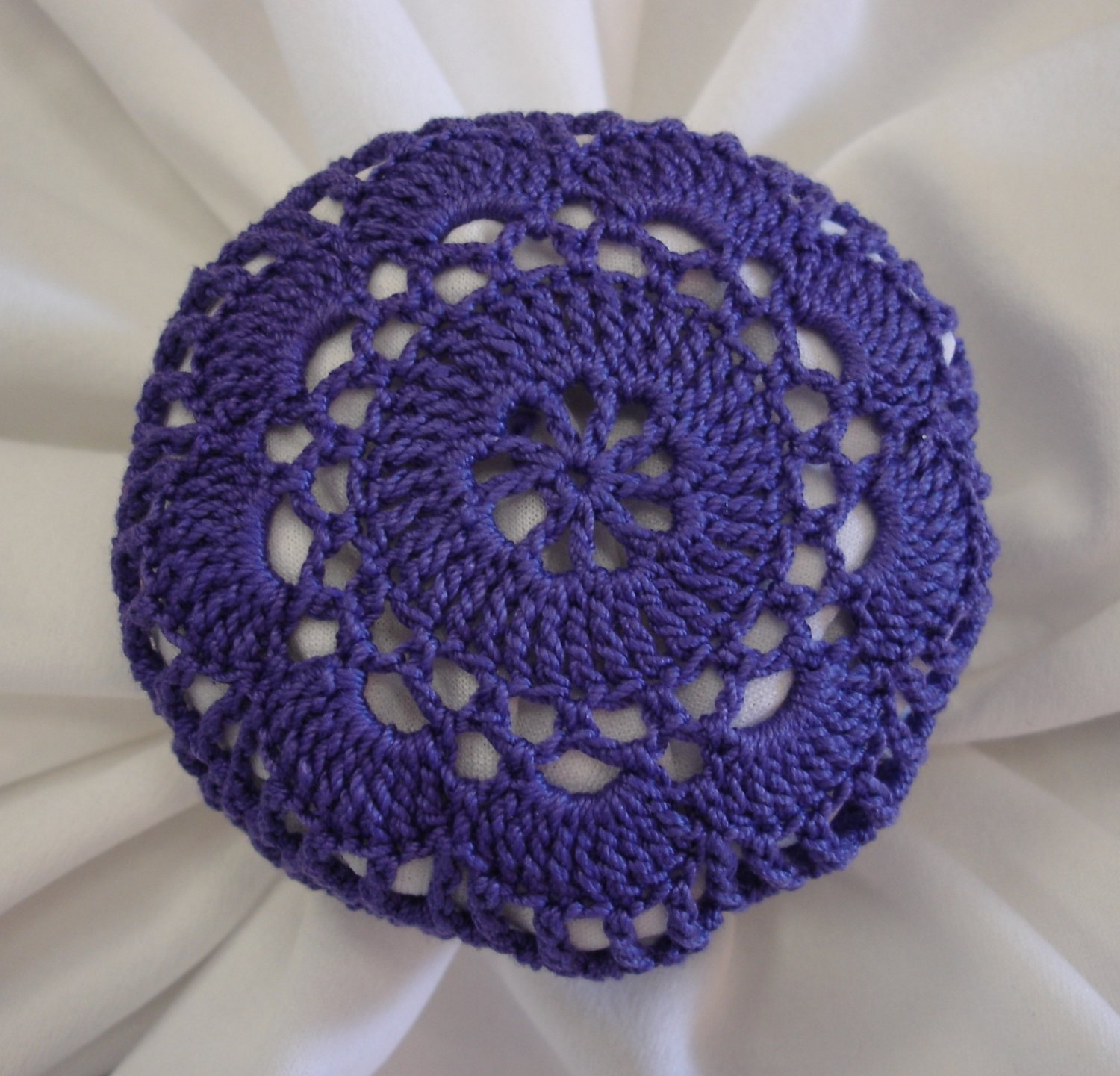 Crochet Hair Cover : Hand Crocheted Purple Hair Net / Bun Cover Flower Style Amish ...