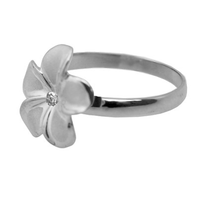 plumeria ring white gold 13mm