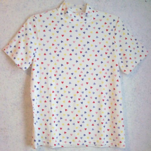 Ladies Knit Top - White/Colorful Hearts-MED - NIP