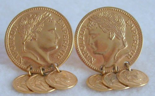 Napoleon Empereur Coin Earrings - clip on - vintage