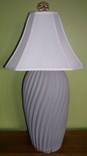 Lamp Base - Grey Ceramic- Swirl Vertical Ribs- vintage