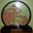 Cork Carving-Chinese Art in Shadow Box-Round - REDUCED