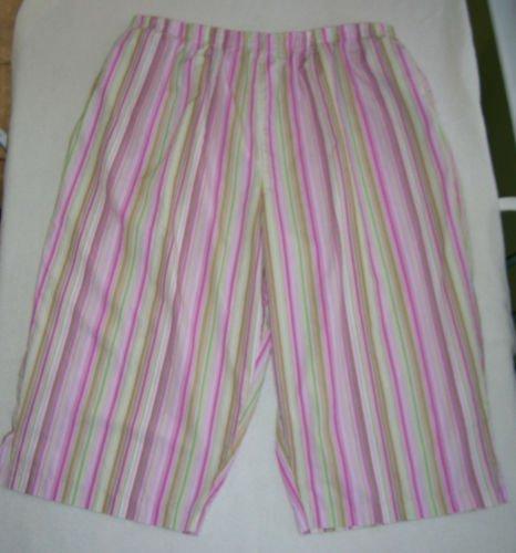 Pedal Pushers - Size 2X - pink/multi stripes