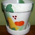 Flower Pot- Handpainted- fruit and ivy- NEW- cheerful!