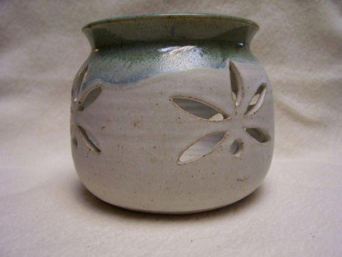 Pillar Candle Holder-Cutouts-Glazed Pottery