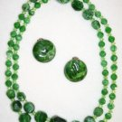 GREEN BEADED NECKLACE AND CLIP-ON EARRINGS SET