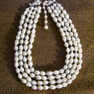 4 Strand Beaded Pearlescent Necklace - vintage