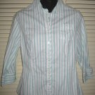 RIDERS Turquoise & White Striped Shirt Top Medium MINT