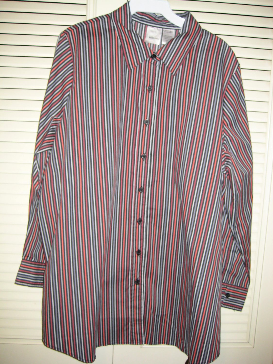 Womens roaman s red white black burgundy striped button for Red and white button down shirt