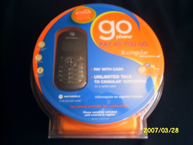"CINGULAR GO PHONE, ""Pay as you Go"" Motorola C139"