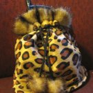 Leopard drawstring mini purse