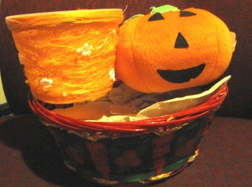 Baskets and Large plush pumpkin