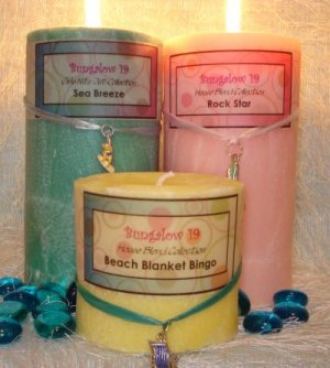 3x9 Palm Wax Pillar Candle Bay Breeze