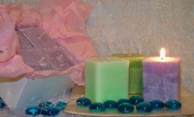 4 Pack Votives Square Blue Hawaiian ~