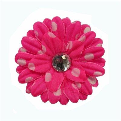 Hot Pink Polka Dot Daisy Clip