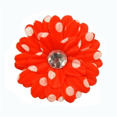 Red Polka Dot Daisy Clip