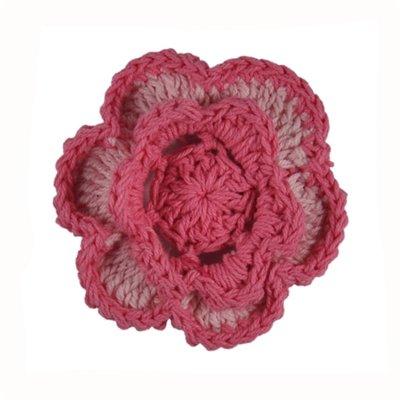 Light Pink/Pink Cotton Crochet Flower Clip