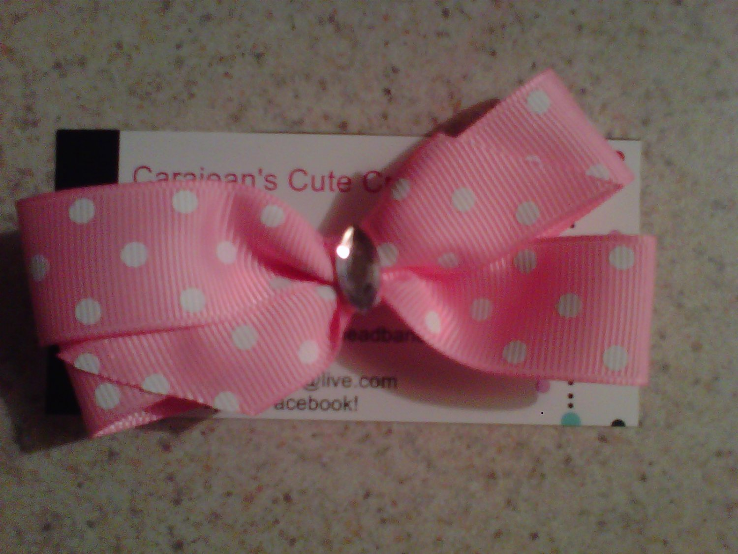 Pink and White Bow with Rhinestone Clip