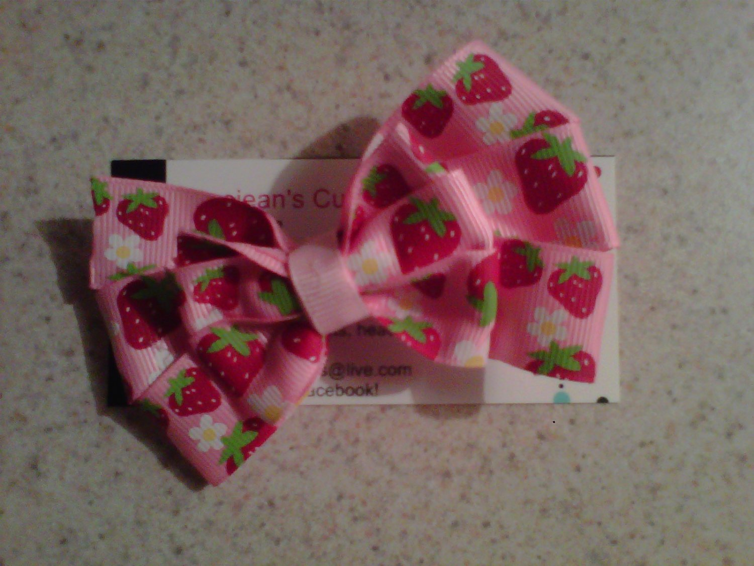 Strawberry Bliss Stacked Bow Clip