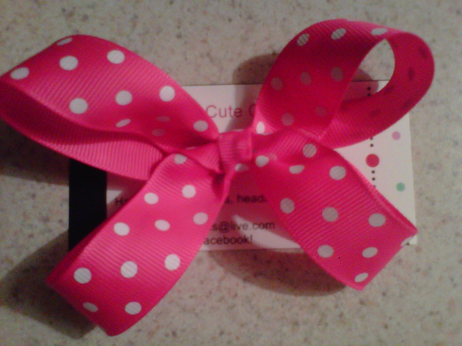 Hot Pink,White Dots Bow Clip