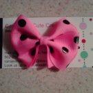 Pink,Black Dots Bow Clip