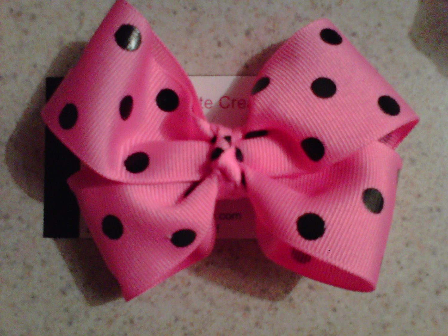 Hot Pink,Black Dots Bow Clip
