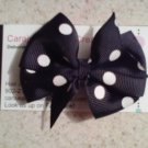 Black and White Dots Bow Clip
