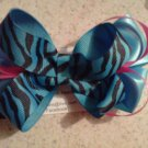Blue, Black and Pink Zebra Stacked Bow Clip