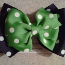 Black,Green and White Stacked Bow Clip