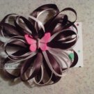 Black and White Loop Bow Clip with Butterfly