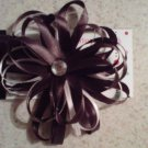 Brown and White Loop Bow Clip with Rhinestone