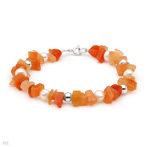 Beautiful Brand New Bracelet with 9.00ctw Precious Stones - Genuine Carnelians and Freshwater Pearls