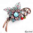 RUCINNI Attractive Brand New Brooch with Crystals and Faux Pearl Made in Rose