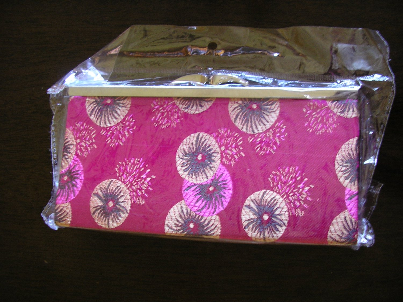 chinese brocade pink fuschia floral evening purse clutch bag