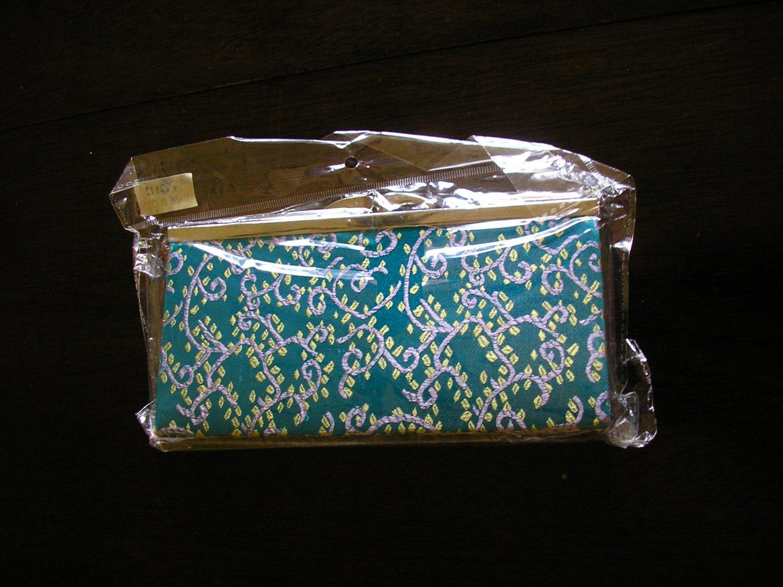 chinese brocade blue aqua floral evening purse clutch bag
