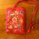 red burgundy satin embroidered roll up makeup jewelry bag