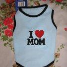 NWT stretch blue i love mom dog clothes shirt costume dress size small