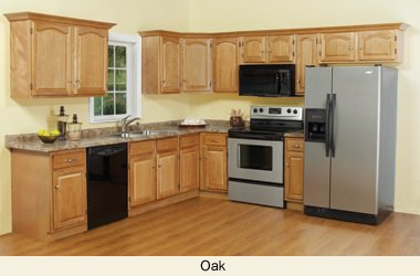 All Wood Builders Series White Oak Kitchen Cabinets