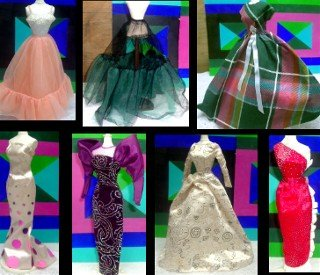 6 Vintage Barbie Gowns & 1 Petticoat Clothing Lot