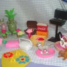 Barbie Accessories,Bikes and Dishes Lot