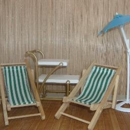 Barbie Beach Chairs, Umbrella & Serving Cart