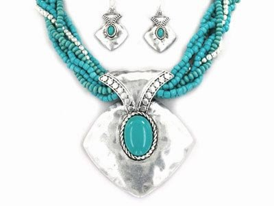Multi Strand Turquoise Necklace and Earrings Set