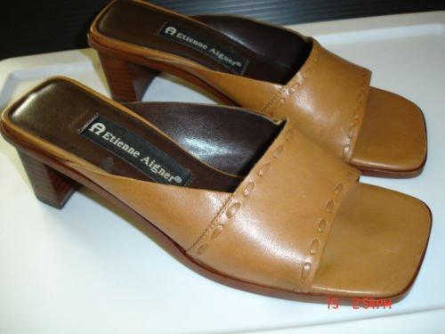 ETIENNE AIGNER Camel Leather Slide Sandals, 6M, VGC!