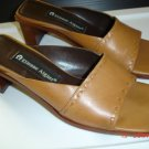 ETIENNE AIGNER Camel Leather Slide Sandals, 6M, VGC!
