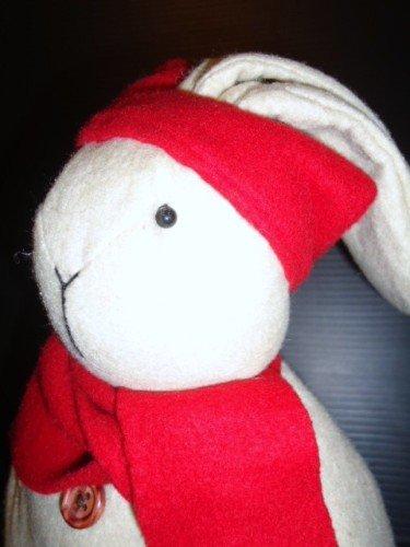 "Rabbit w/ Holiday Hat & Scarf, Felt, 11.5"" H, Used"