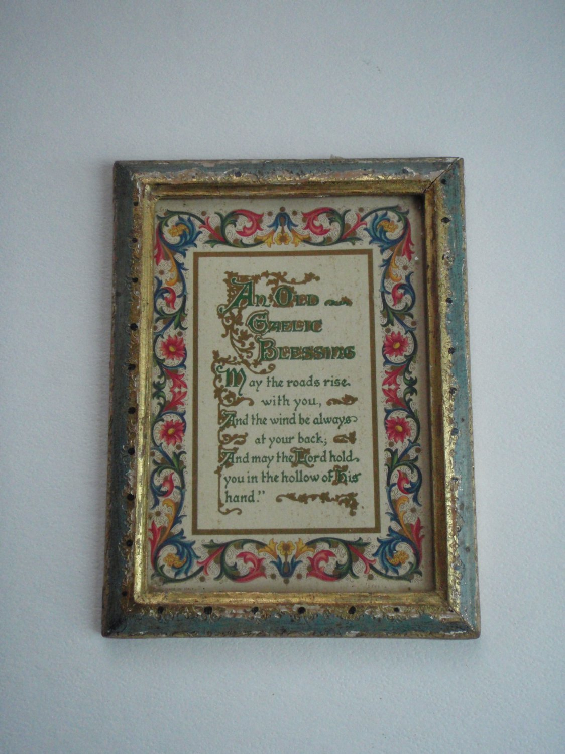 Vintage OLD GAELIC BLESSING Print Framed